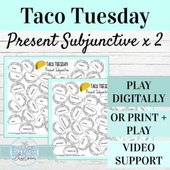 Spanish Present Subjunctive Tense TACO TUESDAY Conjugation Games (x2)