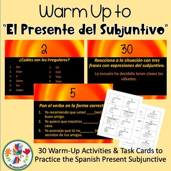 Spanish Present Subjunctive Warm-Ups and Task Cards