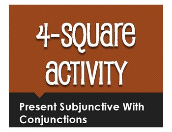 Spanish Present Subjunctive With Conjunctions Four Square Activity