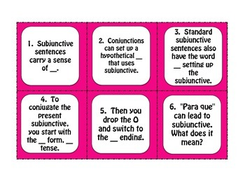 Spanish Present Subjunctive With Conjunctions Task Cards