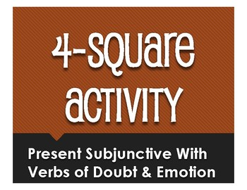 Spanish Present Subjunctive With Doubt and Emotion Four Square Activity