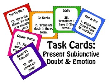 Spanish Present Subjunctive With Doubt and Emotion Task Cards