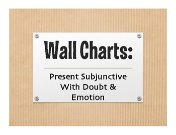 Spanish Present Subjunctive With Doubt and Emotion Wall Charts