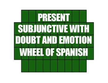 Spanish Present Subjunctive With Doubt and Emotion Wheel of Spanish