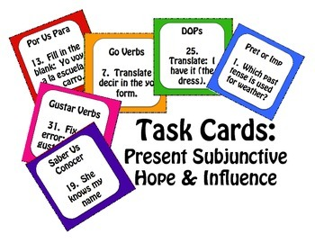 Spanish Present Subjunctive With Hope and Influence Task Cards