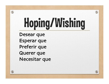Spanish Present Subjunctive With Hope and Influence Wall Charts