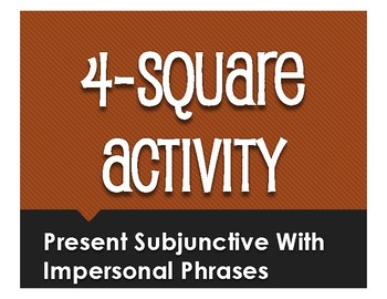 Spanish Present Subjunctive With Impersonal Phrases Four Square Activity