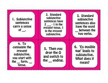 Spanish Present Subjunctive With Impersonal Phrases Task Cards