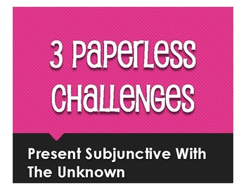 Spanish Present Subjunctive With the Unknown Paperless Challenges