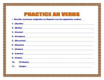 Spanish Present Tense(AR/ER/IR) Verbs- Conjugation Tables & Writing Sentences