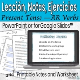 Spanish Present Tense -AR Lesson and Practice PowerPoint