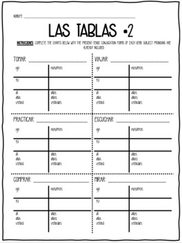Spanish Present Tense -AR Verb Activity Packet