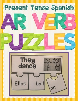 Regular Spanish Present Tense AR Verb Conjugation Activity Puzzle Game