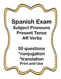 Spanish Present Tense AR Verb Test