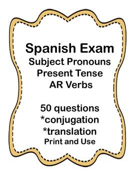 Spanish Present Tense AR Verb Test
