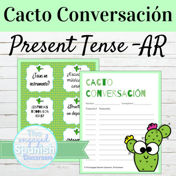 Spanish Present Tense AR Verbs Cacto Conversación Speaking SAMPLE FREEBIE