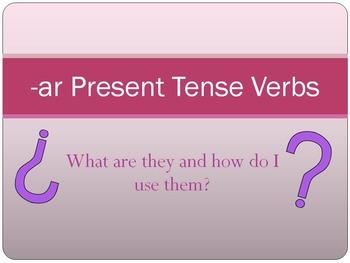 Spanish Present Tense -AR Verbs Lesson Bundle