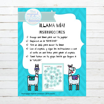 Spanish Present Tense AR Verbs Llama Mía Speaking Activity