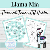 Spanish Present Tense AR Verbs Llama Mía Speaking Activity
