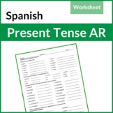 Spanish Present Tense - AR Verbs Worksheet