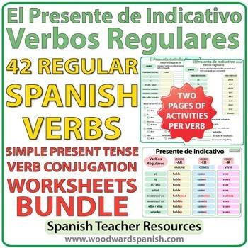 Spanish Present Tense Bundle Regular Verbs Worksheets By Woodward