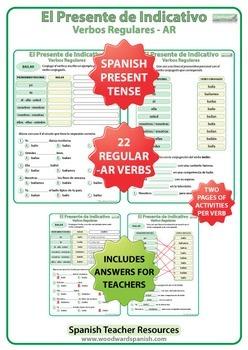 Spanish Present Tense BUNDLE - Regular Verbs Worksheets