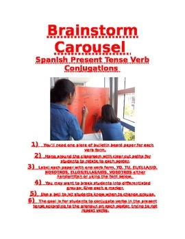 Spanish Present Tense Brainstorm Carousel with poster titles to print