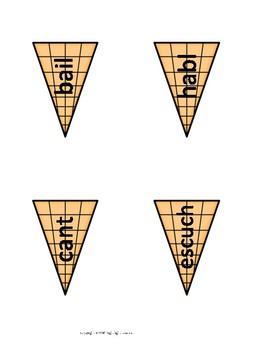 Spanish Present Tense Build a Verb Ice Cream Cone