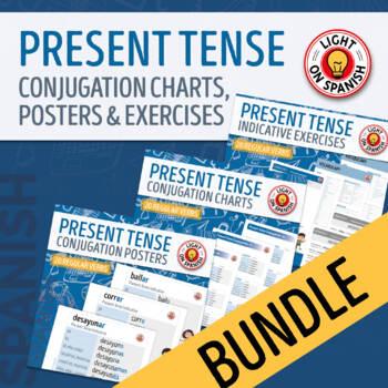 Spanish Present Tense Conjugation Charts and Quizzes Bundle
