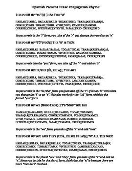 Spanish Present Tense Conjugation Rhyme Sheet