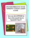 Spanish - Present Tense Conjugation Spoons Game w/ Written Translation Practice