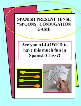 Spanish - Present Tense Conjugation Spoons Game w/ Written Translation Practice