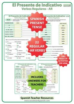 Spanish Present Tense Conjugation Worksheets - Regular AR Verbs