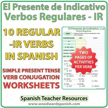Spanish Present Tense Conjugation Worksheets Regular Ir Verbs Tpt