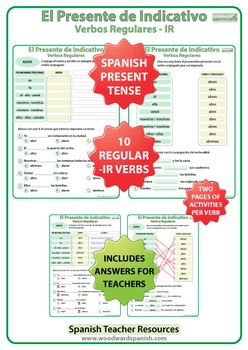 Spanish Present Tense Conjugation Worksheets - Regular IR Verbs