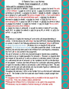 Spanish Present Tense Conjugation of -ir verbs 1