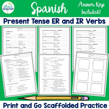 Spanish Present Tense -ER and -IR Verbs Conjugation Practice