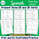 Spanish Present Tense -ER and -IR Verbs Conjugation Practice