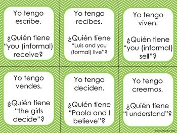 Spanish Present Tense ER and IR Verbs I have...who has...? Game