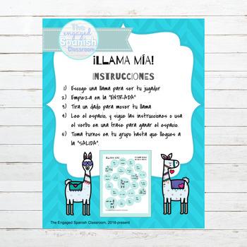 Spanish Present Tense ER and IR Verbs Llama Mía Speaking Activity