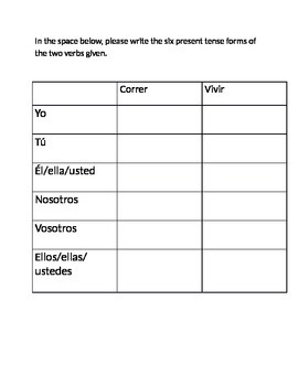 Spanish Present Tense Er and Ir Verbs Guide Worksheet