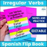 Spanish Present Tense Irregular Verbs Interactive Flip Book EDITABLE