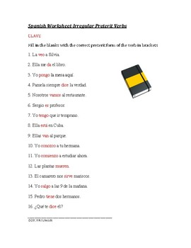 Spanish Present Tense Irregular Verbs Quiz or Worksheet: El Presente
