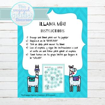 Spanish Present Tense Llama Mía Speaking Activity