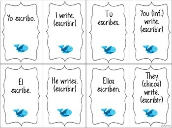 Spanish Present Tense ¡Pesca! (Go Fish) Game