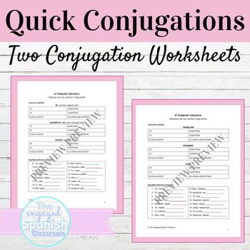Spanish Present Tense Quick Conjugations Worksheets