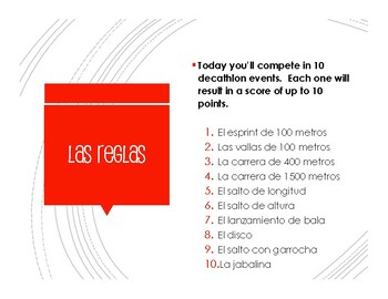 Spanish Present Tense Regular AR Decathlon
