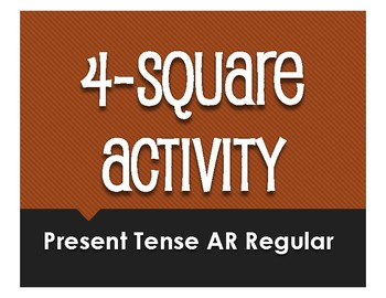 Spanish Present Tense Regular AR Four Square Activity