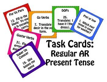 Spanish Present Tense Regular AR Task Cards