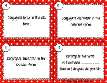 Spanish Present Tense Regular AR Verbs Task Cards